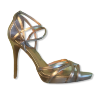 Badgley Mischka Leon Women's Metallic Gold Leather Ankle Strap Sandal Si... - $39.60