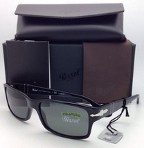Polarized PERSOL Sunglasses 2803-S 95/58 58-16 Black Frame Grey-Green Glass Lens