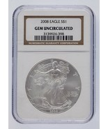 2008 Silver 1oz American Eagle NGC Graded Gem Uncirculated - $56.51