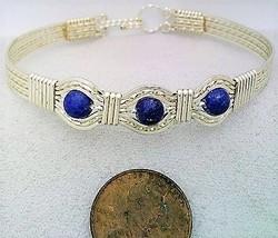 Lapis Silver Wire Wrap Bracelet Sz. 7.5 - $31.95