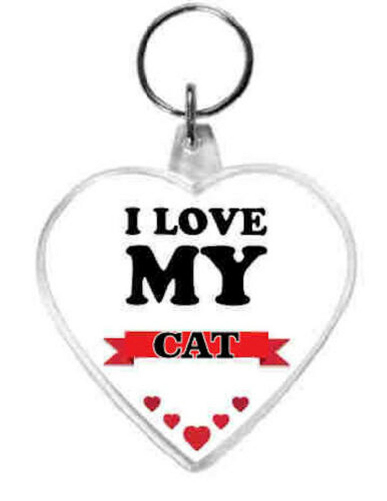 keyring double sided heart, love my cat design, keychain