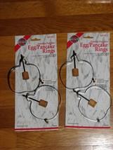 NEW!  Four Non-Stick Egg Pancake Rings Pumpkin Shape Wooden Handles - $15.96 CAD