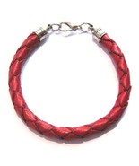 BRIGHT RED REAL LEATHER HAND MADE WOVEN  QUALITY ROUND BRACELET STRAP WI... - $12.54