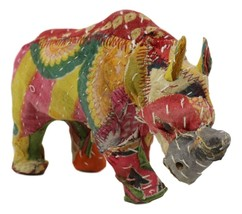 Safari Rhinoceros Hand Crafted Paper Mache In Colorful Sari Fabric Figurine - $18.99