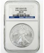 2007 Silber American Eagle Ausgewählten Von NGC As MS69 Frühe Veröffentl... - $44.54