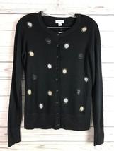 Charter Club Womens Cardigan Sweater Black Bling Print Button Down L Sle... - $21.57 CAD
