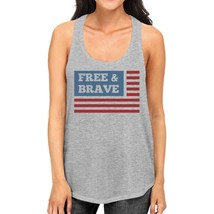 Free & Brave Us Flag Womens Grey Funny Graphic Tanks Crewneck Line - $14.99