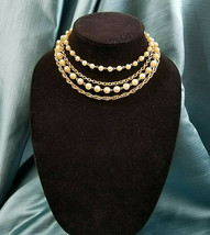 """Choker 4 Strand Simulated Pearls Gold Tone Vintage 12 1/2"""" - $18.80"""