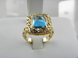 14k Gelbgold Diamanten und Blau Topas Kissen Cabochon - $354.02