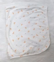 Carters Baby Blanket White Giraffes Orange Gray Cotton Receiving 31x34 B299 - $19.23 CAD