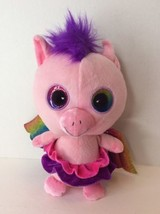 Unicorn Pink Rainbow Wings Purple Hair Plush Stuffed Doll Six Flags Excl... - $19.79