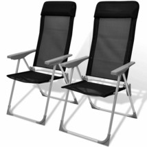 vidaXL 2x Camping Chairs Aluminum Black Folding Outdoor Garden Seat Lounge - $63.99