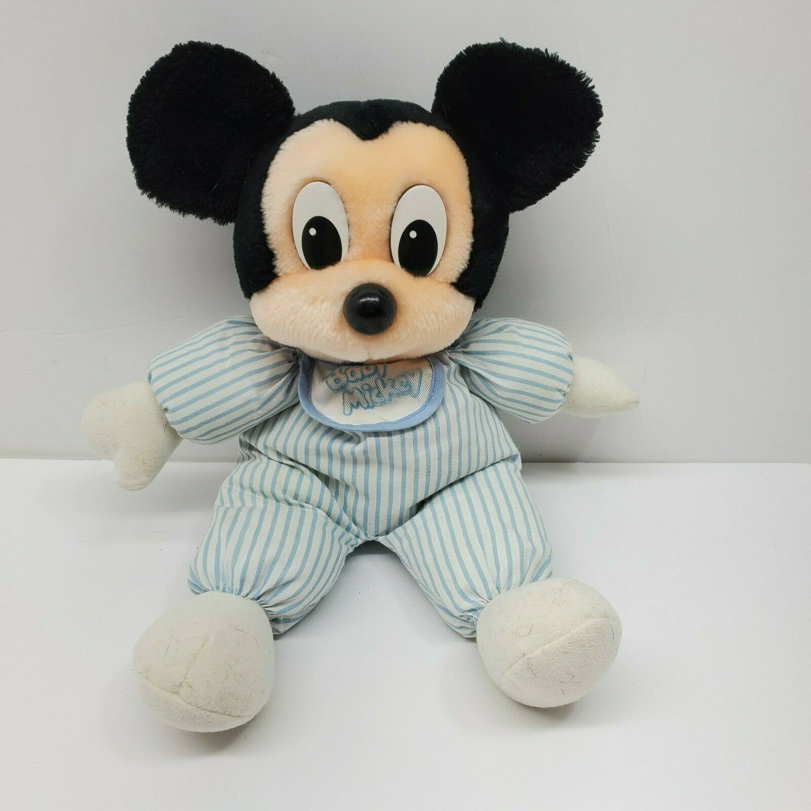 Primary image for Disney Mickey Mouse Baby Mickey Blue Stripes Plush Stuffed Animal Bib 13""