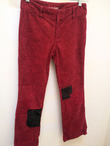 Guess Jeans 12 Pants Red Paisley Corduroy Patch Nail Head Detail - $11.19