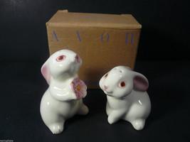 New Avon Pink Eye Ear White Bunny Rabbit Salt and Pepper Shaker Set (AN.... - $11.24