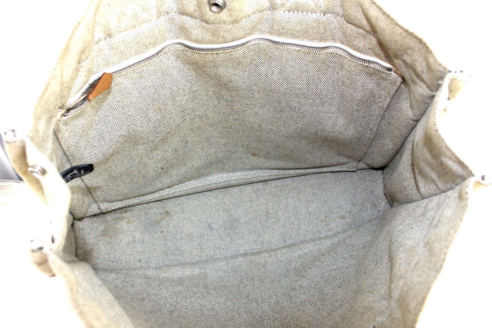 31444a34af63 100% Auth HERMES Paris Fourre Tout MM Beige Canvas Cotton Tote Handbag  France