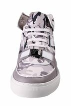 Versace Collection V900357 Grey Camo Print Hi Top Canvas Fashion Sneakers Shoes image 4