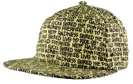 Neff Types Snapback Flat Brim Hat Baseball Cap Yellow Black & White image 2