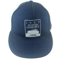 Jeepers Jamboree Jeep Mesh Trucker Snapback Hat Blue 1989 - $24.99