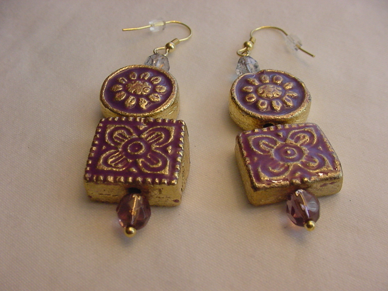 Unique Creations/Ozarks Purple/Gold Floral Aztec Tiles Drop Earrings