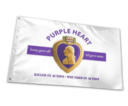 PURPLE HEART COMBAT WOUNDED white flag 3X5  FLAG banner FL801  MILITARY ... - $9.49