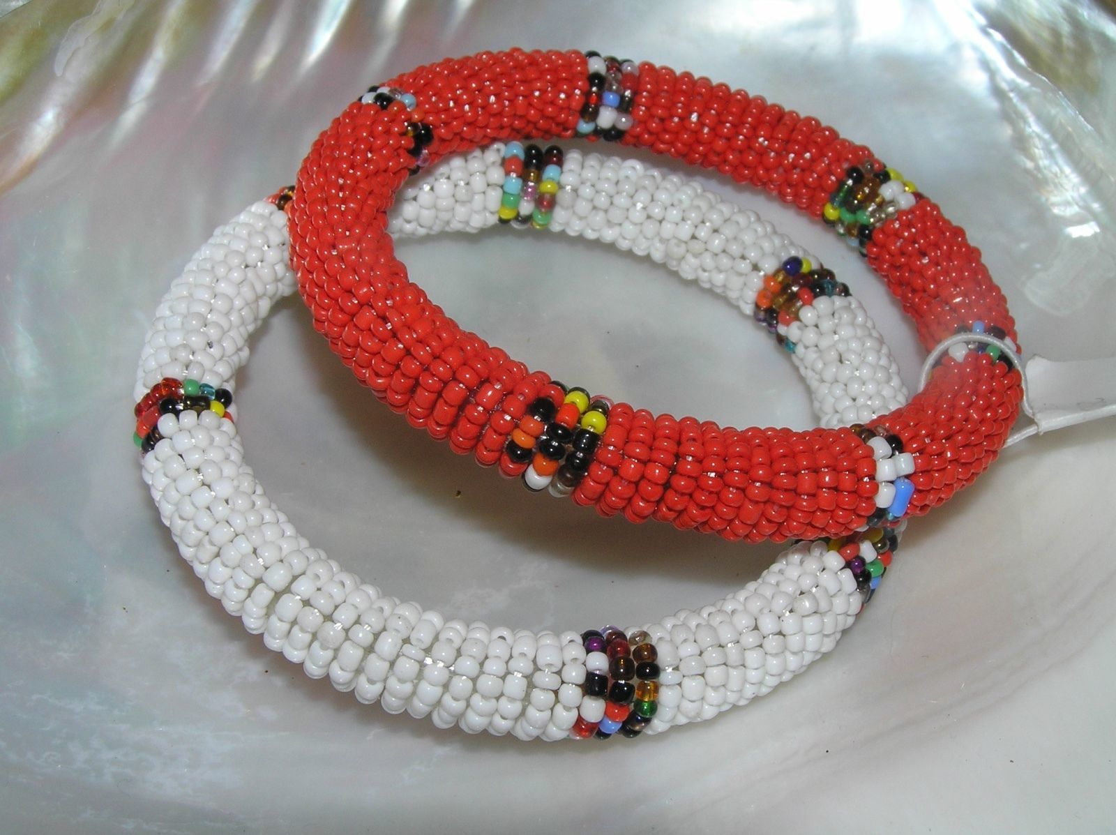 Estate Lot of 2 Red & White Beaded wColorful Striped Segments Bangle Bracelet