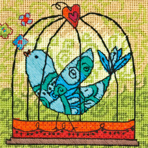 "Dimensions Mini Needlepoint Kit 5""X5""-Birdie Stitched In Thread - $11.86"