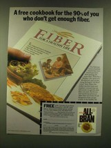 1990 Kellogg's All-Bran Cereal Ad - A free cookbook for the 90% of you - $14.99