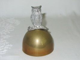 Towle Pewter Vintage Owl Bird Figurine Handle on Brass Bell - $29.69