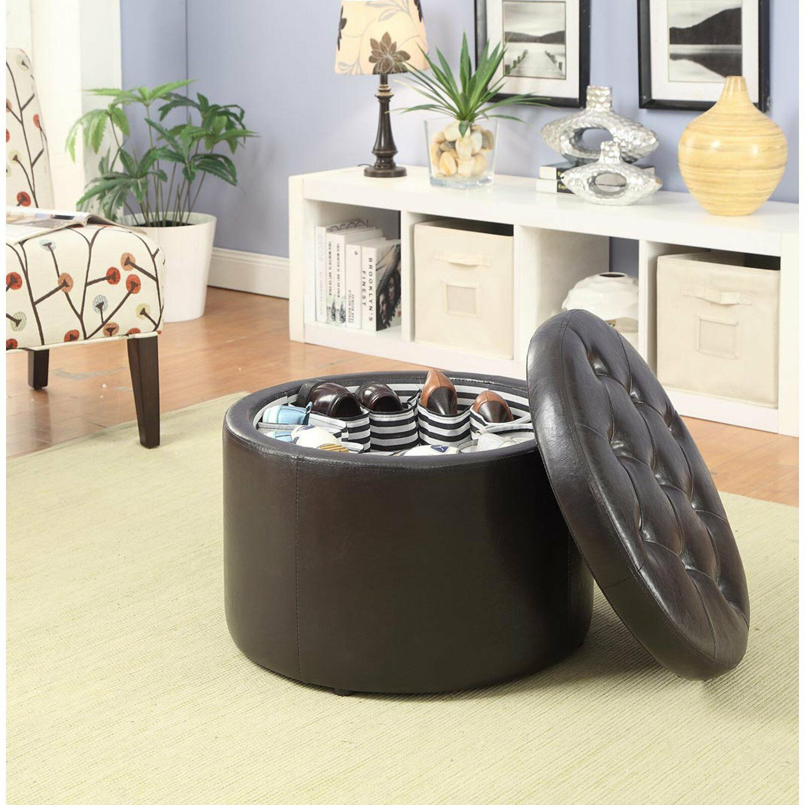 Tufted Brown Faux Leather Round Storage Ottoman Footstool