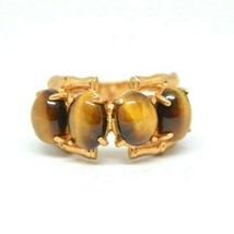 Gold Vermeil Sterling Silver Tiger's Eye Bamboo Ring Size 6 - $74.24