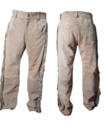 Men's New Native American Beige Buckskin Suede Leather Fringes Western P... - $99.00+