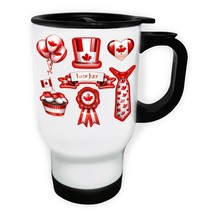 New Seven Party Canada Day White/Steel Travel 14oz Mug h830t - $17.79
