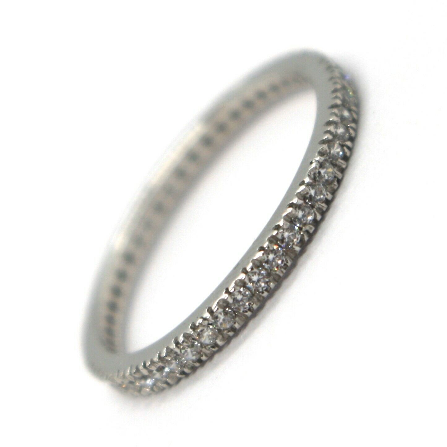 18K WHITE GOLD THIN ETERNITY BAND RING, WHITE CUBIC ZIRCONIA, THICKNESS 2 MM