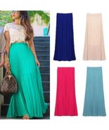 Tropical Long Pleated Chiffon Maxi Skirts - $35.00