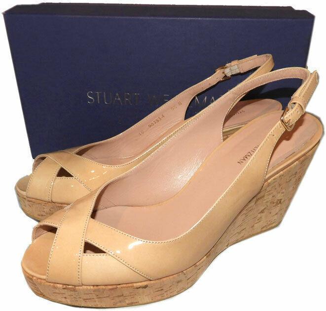 $460 Stuart Weitzman Vent Peep Toe Wedge Slingback Sandals Cork Nude Beige 9.5