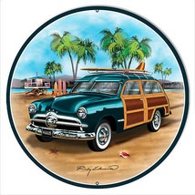 Ford Woodie Green Metal Sign By Rudy Edwards 14x14 Round - $27.72