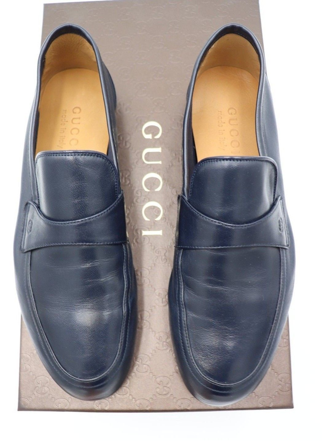 8d30cdbf2fb NIB Gucci Mens Unlined Navy Blue Leather Slip-on Loafers Shoes 7 US