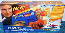 Nerf Super Soaker Rattler BLUE Rapid Fire Massive Soaking Capacity 25 Ft... - $65.44