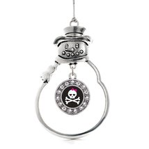 Inspired Silver Cute Skull And Crossbones Circle Snowman Holiday Decoration Chri - €12,80 EUR