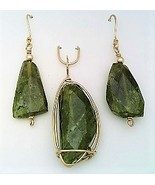 Vesuvianite Gold Wire Wrap Pendant Earring Set 11 - $55.00