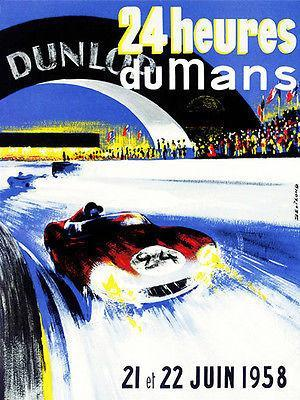 Primary image for 1958 24 Hours of Le Mans Race - Promotional Advertising Poster