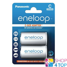 2 Panasonic Eneloop Battery Adapter Aa R6 To C R14 Size Converter Spacer Case - $8.21