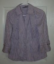 Womens Alfani Purple Stripe Button Up Shirt Top 3/4 Sleeves Sz 8 - $9.99