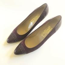 Salvatore Ferragamo Vintage Suede Leather Purple Pumps Size 9.5 AAA EUC - $60.75