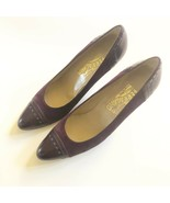 Salvatore Ferragamo Vintage Suede Leather Purple Pumps Size 9.5 AAA EUC - $60.75