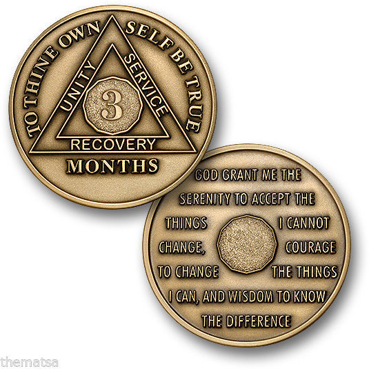 AA ALCOHOLICS ANONYMOUS 3 MONTH RECOVERY SOBRIETY MADE IN USA CHALLENGE COIN