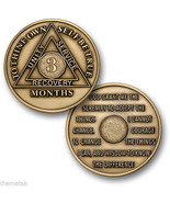 AA ALCOHOLICS ANONYMOUS 3 MONTH RECOVERY SOBRIETY MADE IN USA CHALLENGE ... - $15.51