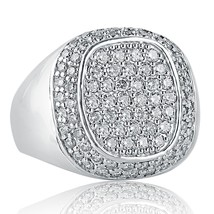14K White Solid Gold Men's Diamond Pave Set Ring (2.30 tcw) - £1,588.50 GBP