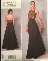 Vogue Designer Badgley Mischka V1534 Halter Back Evening Gown w Contrast... - $15.00